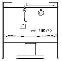 """""""M360M2000″ TAVOLO ASPIRANTE RISCALDATO PIANO 180X70 cm."""